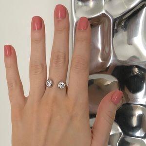 Express silver floating rhinestone ring
